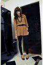 Black-american-rag-leggings-black-vintage-shoes-brown-vintage-dress-black-