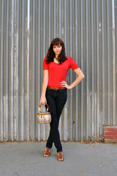 brown thrifted belt - brown Nine West shoes - BDG jeans - brown vintage bag
