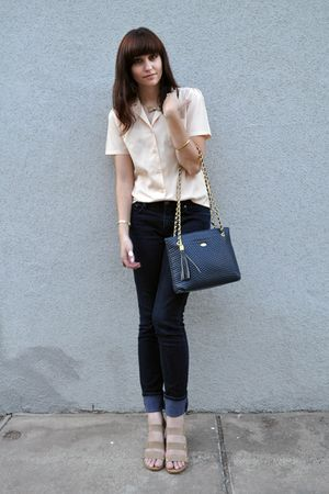 beige vintage blouse - BDG jeans - beige Gaimo shoes - blue vintage purse - beig