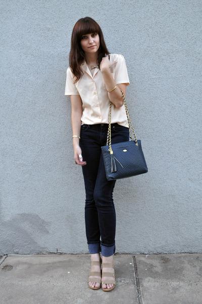 beige vintage blouse - BDG jeans - beige Gaimo shoes - blue vintage purse - beig