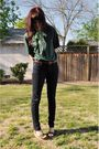 Green-vintage-shirt-brown-thrifted-belt-bdg-jeans-green-scarf-green-nin