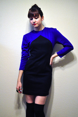 black combat Dolce Vita for Target boots - blue vintage dress - black knee high 