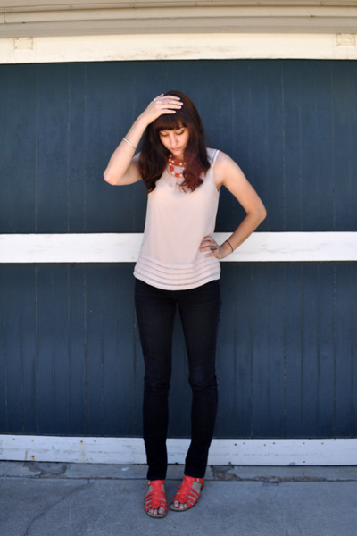 pink H&M blouse - red vintage necklace - BDG jeans - red Nine West shoes - silve