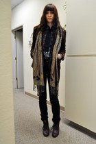 dark brown vintage boots - dark brown vintage blazer - lark & wolff shirt - brow