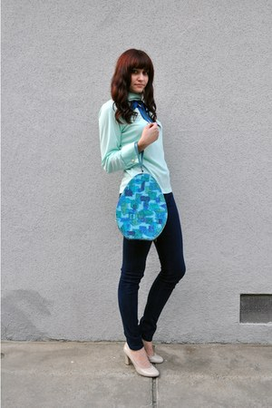 aquamarine vintage blouse - blue vintage scarf - sky blue vintage bag - navy BDG