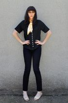 black vintage blouse - BDG jeans - gold thrifted scarf - beige thrifted shoes -