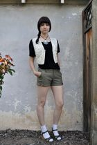 white vintage vest - black BDG blouse - green Lux shorts - white socks - green N