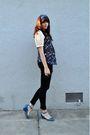 Blue-vintage-scarf-beige-vintage-blouse-black-volcom-shirt-black-american-