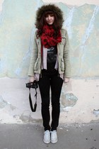 ruby red Staring at Stars scarf - dark khaki abercrombie and fitch jacket - salm