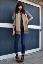 black vintage blouse - green DKNY jacket - BDG jeans - beige Gap scarf - black s