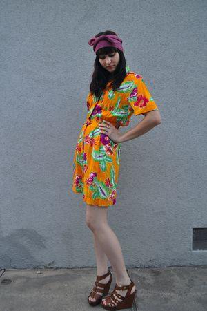 orange vintage dress - pink thrifted scarf - brown Cynthia Vincent for Target sh