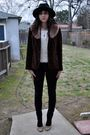 Black-vintage-hat-brown-vintage-accessories-white-vintage-blouse-brown-vin