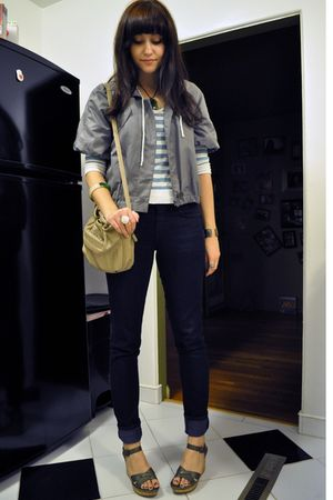 green fisherman DKNY jacket - green cork wedges Nine West shoes - BDG jeans