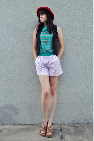red hat - brown vintage vest - green vintage shirt - pink vintage shorts - brown