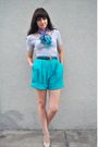 Silver-american-apparel-shirt-blue-vintage-scarf-blue-vintage-shorts-blue-