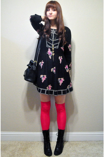 hot pink over the knee socks - black Dolce Vita for Target boots