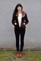 brown vintage blazer - brown accessories - white thrifted blouse - BDG jeans - b