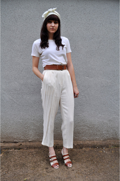 white thrifted scarf - white Marc by Marc Jacobs shirt - beige vintage pants - b