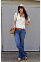 pink vintage scarf - white vintage blouse - brown thrifted belt - BDG jeans - br