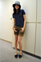 blue vintage shoes - brown DIY shorts - blue Merona - Target shirt - gray Eugeni