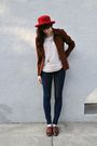 Red-hat-pink-h-m-blouse-brown-vintage-blazer-brown-necklace-bdg-jeans-