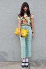 Blouse-green-vintage-pants-white-socks-yellow-purse-black-accessories-