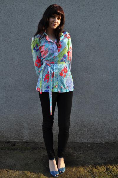 blue shoes - black American Apparel pants - blue vintage Lily Pulitzer blouse