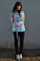 blue shoes - black American Apparel pants - blue vintage Lily Pulitzer blouse