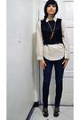 Black-forever-21-blazer-black-vintage-vest-beige-vintage-blouse-brown-neck