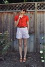 Brown-rayban-sunglasses-red-marc-by-marc-jacobs-blouse-brown-vintage-belt-