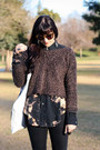 Dark-brown-fuzzy-cropped-sweater-black-dr-martens-shoes