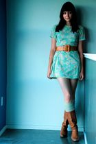 brown vintage boots - green vintage dress - beige over the knee socks