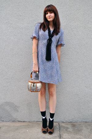blue thrifted dress - black H&M necklace - black Urban Outfitters socks - brown