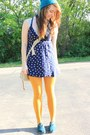 Teal-toms-shoes-navy-anchor-pattern-dress-teal-neff-hat-mustard-tights