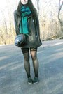 Teal-cordones-toms-shoes-gray-thrifted-dress-gray-coat-teal-gift-scarf
