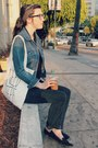 Black-skinny-forever-21-jeans-navy-jean-gap-jacket-cream-tote-forever-21-bag