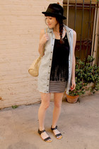 black suede fringed Forever 21 top - light blue denim LL Bean dress