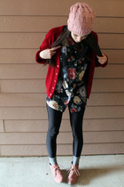 black floral thrifted blouse - peach suede Target boots - peach knit H&M hat