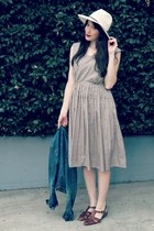 charcoal gray gingham thrifted vintage dress - cream fedora Forever 21 hat