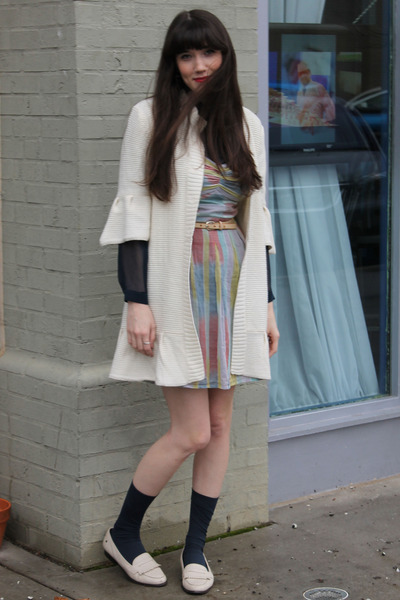 cream knit vintage sweater - sky blue open-back Staring at Stars dress