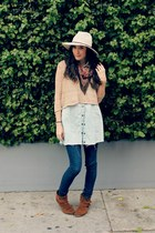 camel knit H&M sweater - dark brown suede fringe Minnetonka boots