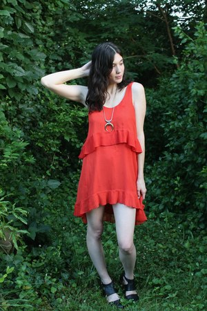 red thrifted from Crossroads dress - black Urban Outfitters boots
