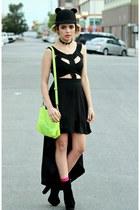 chartreuse neon Choies bag - black cut out asos dress - black cat romwe hat