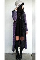 deep purple knit Forever 21 cardigan - black Forever 21 dress