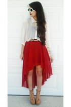 ruby red skirt - white Forever 21 blouse - white glasses - tan wedges
