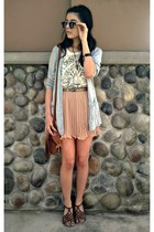 nude skirt - silver Forever 21 cardigan - black Old Navy glasses