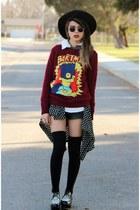 black polka dot Popbasic blouse - black thrift hat