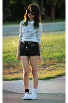 white star Converse sneakers - off white stripes Lulus sweater