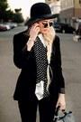 Black-walmart-blazer-black-polka-dot-popbasic-blouse