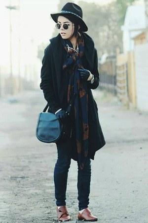 black Forever 21 jacket - navy denim PacSun jeans - navy skulls romwe scarf